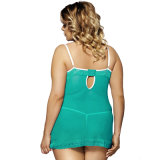 サイズの女性のセクシーなランジェリーと低い背部袖なしの緑