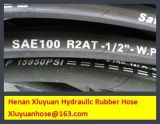 Boyau flexible de boyau en caoutchouc tressé de pétrole hydraulique