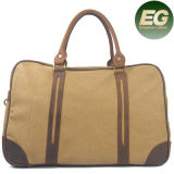 Vintage Genuine Leather Retro Canvas Tote Handbag Travel Bag for Men Ga12