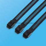 Edelstahl-Strichleiter-einzelnes Widerhaken-Verschluss-Polyester-überzogener Kabelbinder
