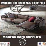 L sofá de couro luxuoso da forma com aço inoxidável em 2017
