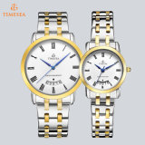 Het nieuwe Paar van de Kalender van de Band van het Roestvrij staal van Japan Movt van het Horloge van het Kwarts van de Aankomst let op Horloge 72765 van de Mensen van de Luxe van de Bevordering