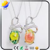 Pendant en cristal rose opale normal de pierre gemme de l'argent 925 sterling