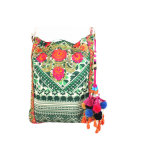 Moda impresa y bordada bolso con borla