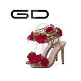 최신 판매 빨간 꽃 장식적인 발목 벨트 구렁 여자 얇은 발뒤꿈치 샌들