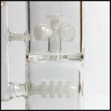 백색을%s 가진 두 배 약실 수관 35cm 싼 관 Hookah 관이 다이아몬드 유리제 기어에 의하여 여과자 작동된다
