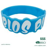 Подгонянный голубой Wristband материала кремния цвета