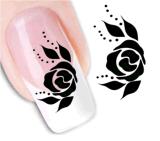 Стикер украшения красотки ногтя черного цветка слипчивый
