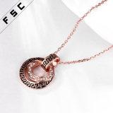 Fabrik-Verkauf gravierte Rosen-Goldrhinestone-Legierungs-Halskette für Unisex