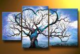 추상적인 아크릴 색칠 3 위원회 오래된 나무 호텔 훈장을%s 손으로 그리는 유화 벽 예술