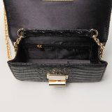 Crocodile Pattern PU Black Rotary Buckle Handbag (A049)