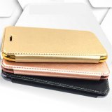 Tampa dourada da borda da aleta do couro do telefone móvel com o suporte de cartão da carteira para o caso da tampa 6s 7 do iPhone 6