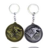 Gioco del regalo Pendant dell'anello della catena chiave del metallo degli anelli portachiavi di Keychain della lega di tema di film dei troni