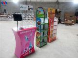 Kundenspezifischer Firmenzeichen-MetallPegboard Fußboden-Regal-Standplatz bearbeitet Ausstellung-Bildschirmanzeige-Zahnstange