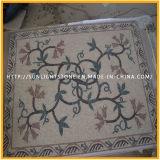 Barato travertino natural y mármol patrón de mosaico de piedra para la decoración del piso