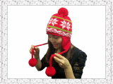 China-Zeichenwinter gestrickter Beanie-Hut mit Quast-Kugeln für Mädchen (1-3505)