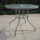 Tabela do vidro Tempered da mobília do jardim com furo no meio do Tabletop