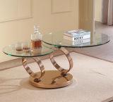 Tavolino da salotto rotondo rotativo dell'acciaio inossidabile con la parte superiore di vetro