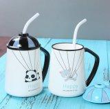 Caneca de café cerâmica feita sob encomenda do chá do ODM com palha da tampa