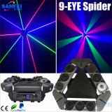 Luz principal movente do feixe da aranha do RGB das cabeças do laser 9