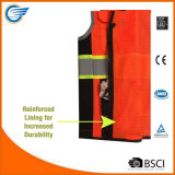 Chaleco reflexivo de la seguridad del acoplamiento respirable de la clase 2 con la cremallera resistente