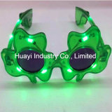 LED Flashing Green Shamrock Óculos de sol