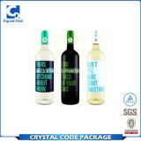 Escrituras de la etiqueta de las etiquetas engomadas de las botellas de cristal de vino de la talla estándar