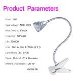lámpara de escritorio del clip de 5W LED con la luz flexible del cuello de cisne de 360 grados
