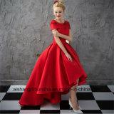Платье выпускного вечера вечера сатинировки мантии шарика втулки крышки женщин красное