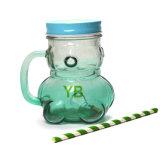 Chocs en verre de tasse, bouteille de boisson de forme d'ours avec le couvercle et traitement