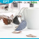 USB Flash Drive di 8GB Silver Crystal Heart Shape Jewelry con Necklace