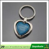 Corrente chave em branco da forma do coração com seu logotipo