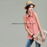Form-reine Farben-Dame-Hemd-Form-Sleeveless Blusen-Frauen-Kleidung