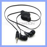 Stereo Blow Black Ear Phone 3.5mm Retractable Earphones