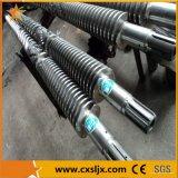 Tambor gêmeo cónico bimetálico do parafuso para a extrusora da tubulação do PVC
