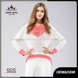 Olá!-Lo camisola cor-de-rosa modelada Crocheted do Hem garganta redonda Sequined robusta