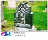 A cruz de pedra preta de China projeta a lápide