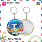 75mm Lady Gift Porte-clés Mirror Portable Tin Plate Mirror