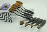 Фабрики 10 состава красотки комплект щетки состава PCS вспомогательной овальный с черной гибкой ручкой