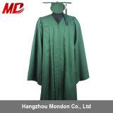 Gland en gros de robe de chapeau de graduation de lycée de vert de forêt