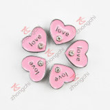 8mm Pink Heart Love You Bracelet Slider Charm (JP08)