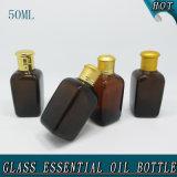 квадратная бутылка эфирного масла крышки винта 50ml янтарная стеклянная