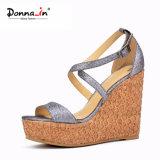 Absatz-Schuh-Frauen-Laser-Korken-Keil-Sandelholze der Dame-Glitter
