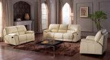 Le plus défunt sofa de Recliner du modèle 1+2+3 avec le cuir véritable beige (HCR011)