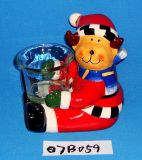 Santa di ceramica dipinta a mano con il supporto di candela di vetro