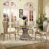 Table de salle à manger en acier inoxydable de luxe en or rose