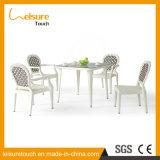 Hand-Woven weiße Form-einfacher Terrasse-Garten-hoch Rückseiten-Rattan-Sofa-Stuhl
