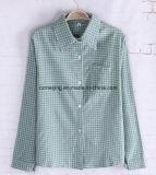 Camisa de algodón verde del `S de las mujeres de la tela escocesa