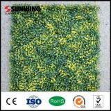 Decoración de la pared UV protegido amarillo hojas artificiales planta valla