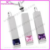 Ijd8094 Popular Pillar Aço inoxidável Cremação Pendant Necklace Crystal Inlay Memorial Keepsake Locket Charm